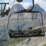 Mountain bike on ski lift