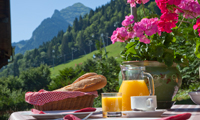 Breakfast outside at Chalet Morzine
