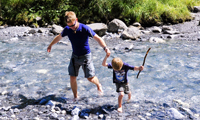 Father and son paddling