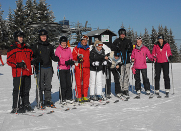 Group of ski holiday makers