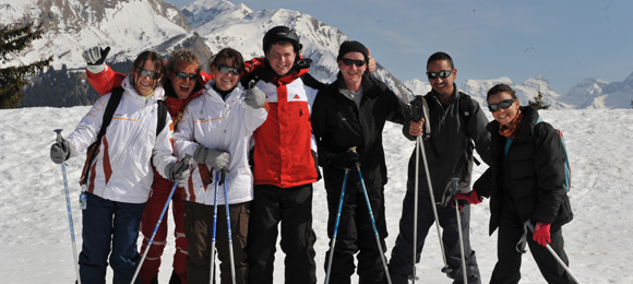 Group of skiers on a mountain