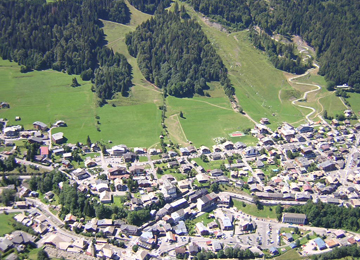View of Morzine from paraglider