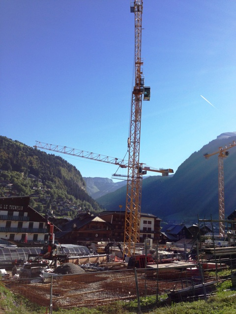 View over the tremplin hotel at the new morzine pleney lift system