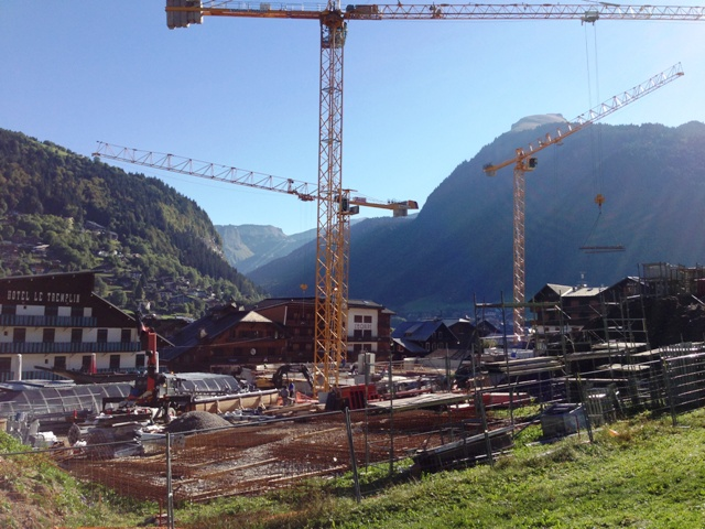 Work on the departure station of the new morzine pleney lift system