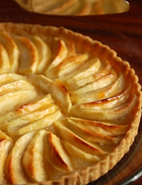 Colette's warm apple tart, topped with vanilla ice-cream