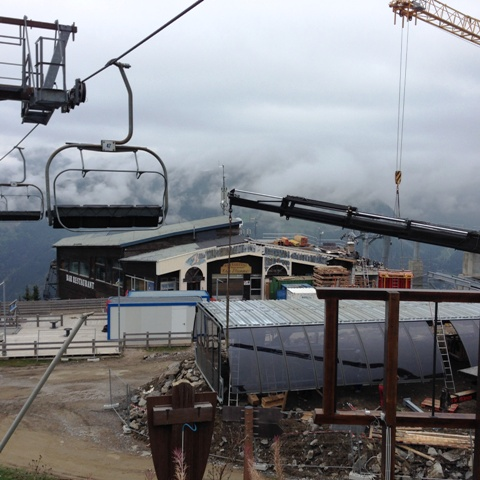 View of Chez Etienne Restaurant at the top of the new Morzine Pleney Lift System